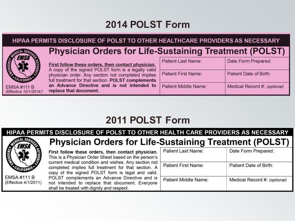 2014 POLST Form 2011 POLST Form