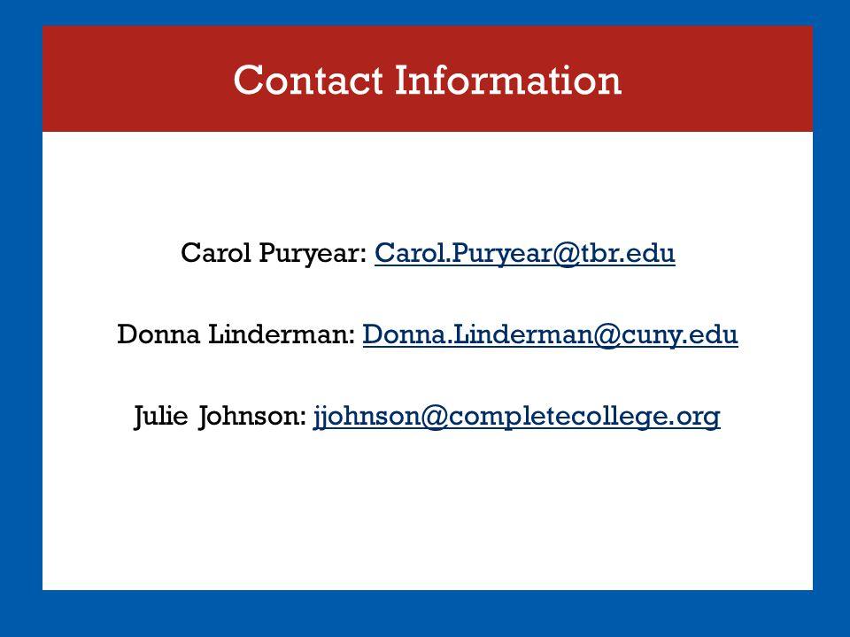 Contact Information Carol Puryear: Carol.Puryear@tbr.eduCarol.Puryear@tbr.edu Donna Linderman: Donna.Linderman@cuny.eduDonna.Linderman@cuny.edu Julie Johnson: jjohnson@completecollege.orgjjohnson@completecollege.org