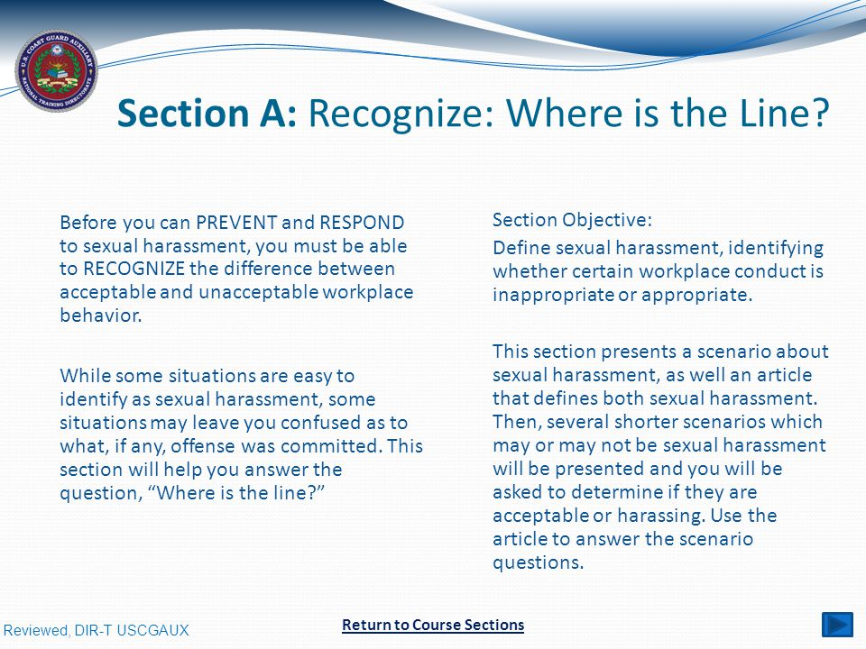 Reviewed, DIR-T USCGAUX Section A: Recognize: Where is the Line.