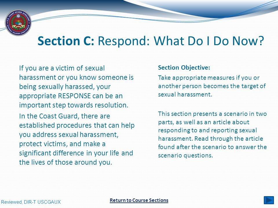 Reviewed, DIR-T USCGAUX Section C: Respond: What Do I Do Now.