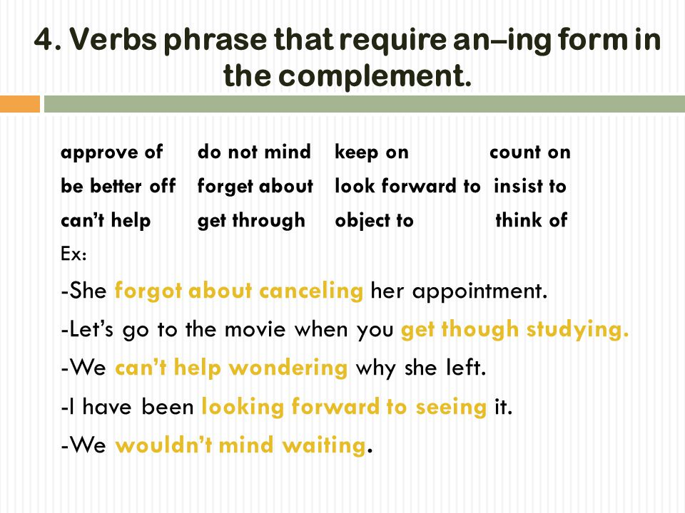 3. Verbs that require an–ing form in the complement. TThe following verbs require an –ing form for a verb in the complement. admit completedeny appr