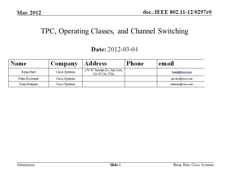 doc.:IEEE 802.11-12/0297r0 Submission Mar. 2012 Brian Hart, Cisco SystemsSlide 1 TPC, Operating Classes, and Channel Switching Date: 2012-03-04
