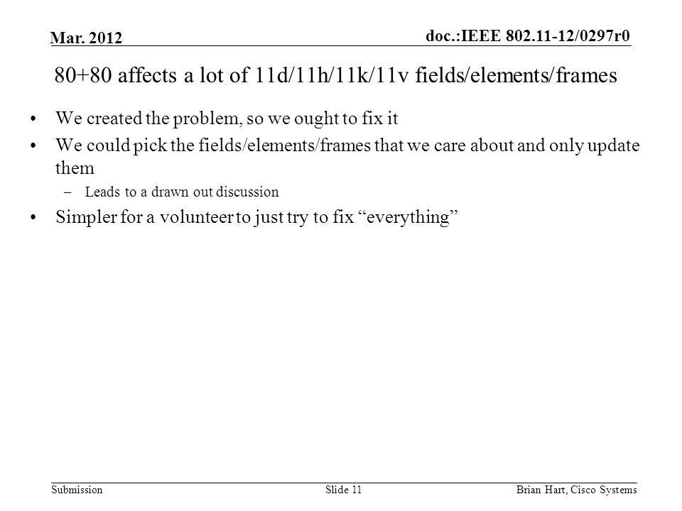 doc.:IEEE 802.11-12/0297r0 Submission Mar. 2012 80+80 affects a lot of 11d/11h/11k/11v fields/elements/frames We created the problem, so we ought to f