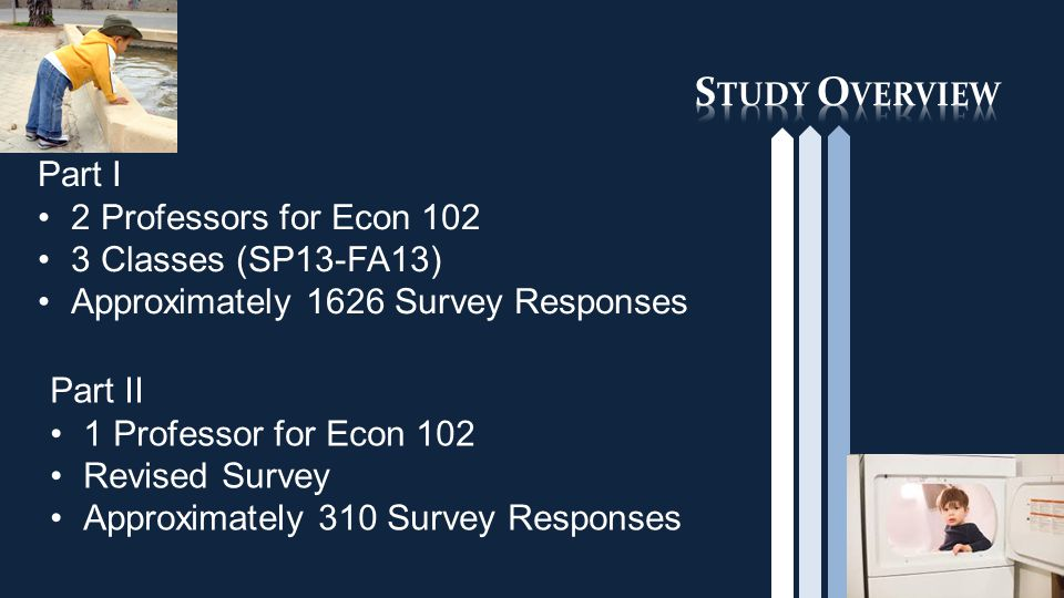 Part I 2 Professors for Econ 102 3 Classes (SP13-FA13) Approximately 1626 Survey Responses Part II 1 Professor for Econ 102 Revised Survey Approximately 310 Survey Responses
