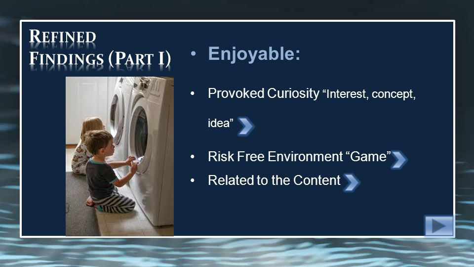 Enjoyable: Provoked Curiosity Interest, concept, idea Risk Free Environment Game Related to the Content