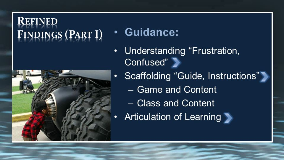 Guidance: Understanding Frustration, Confused Scaffolding Guide, Instructions –Game and Content –Class and Content Articulation of Learning