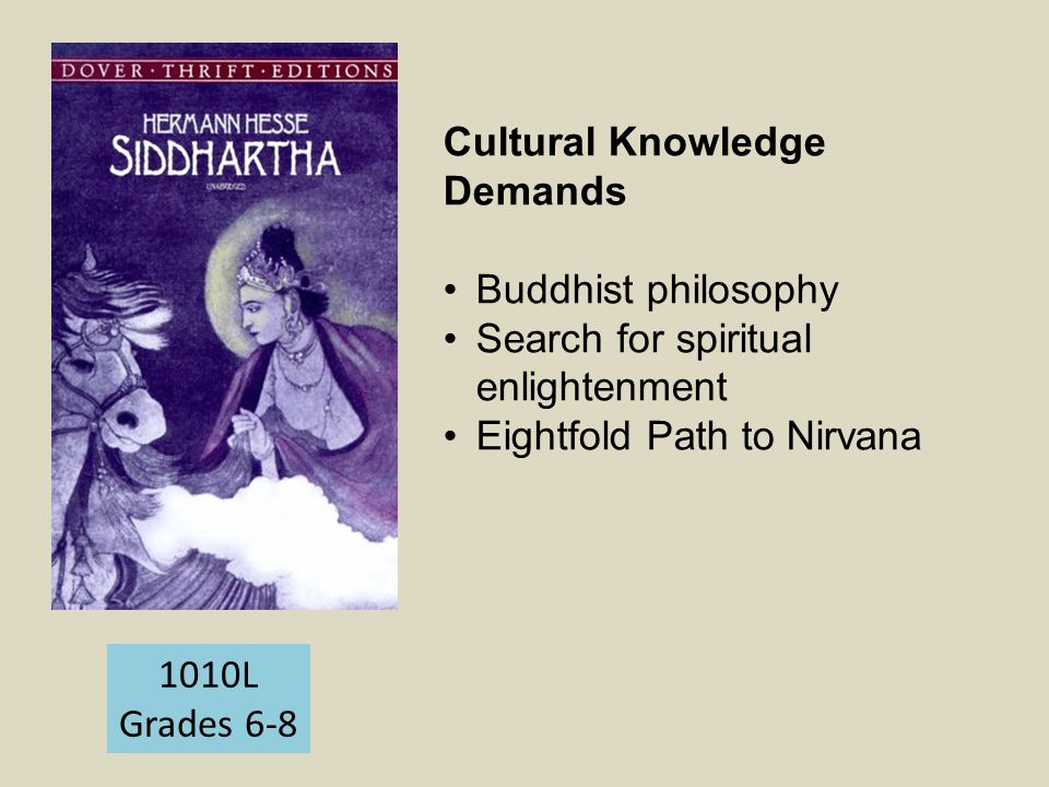 1010L Grades 6-8 Cultural Knowledge Demands Buddhist philosophy Search for spiritual enlightenment Eightfold Path to Nirvana