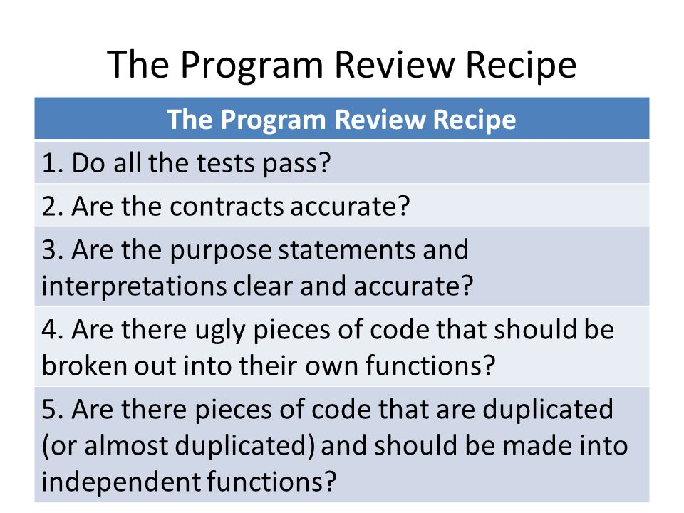 The Program Review Recipe 1. Do all the tests pass.