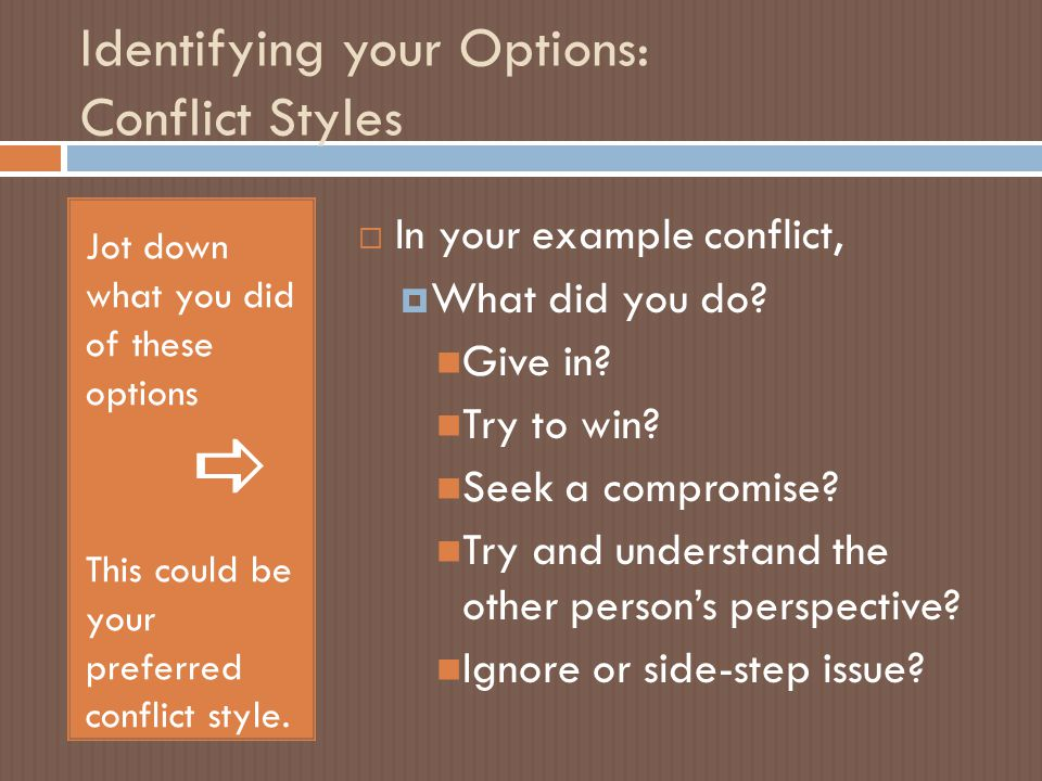 Identifying your Options: Conflict Styles Jot down what you did of these options  This could be your preferred conflict style.