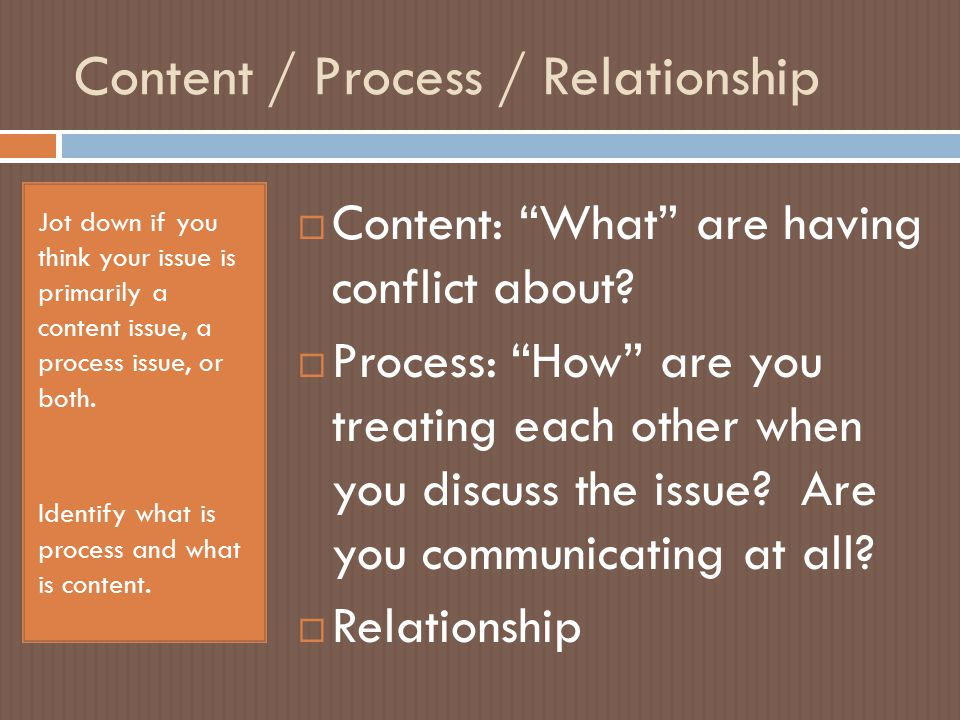 Content / Process / Relationship Jot down if you think your issue is primarily a content issue, a process issue, or both.