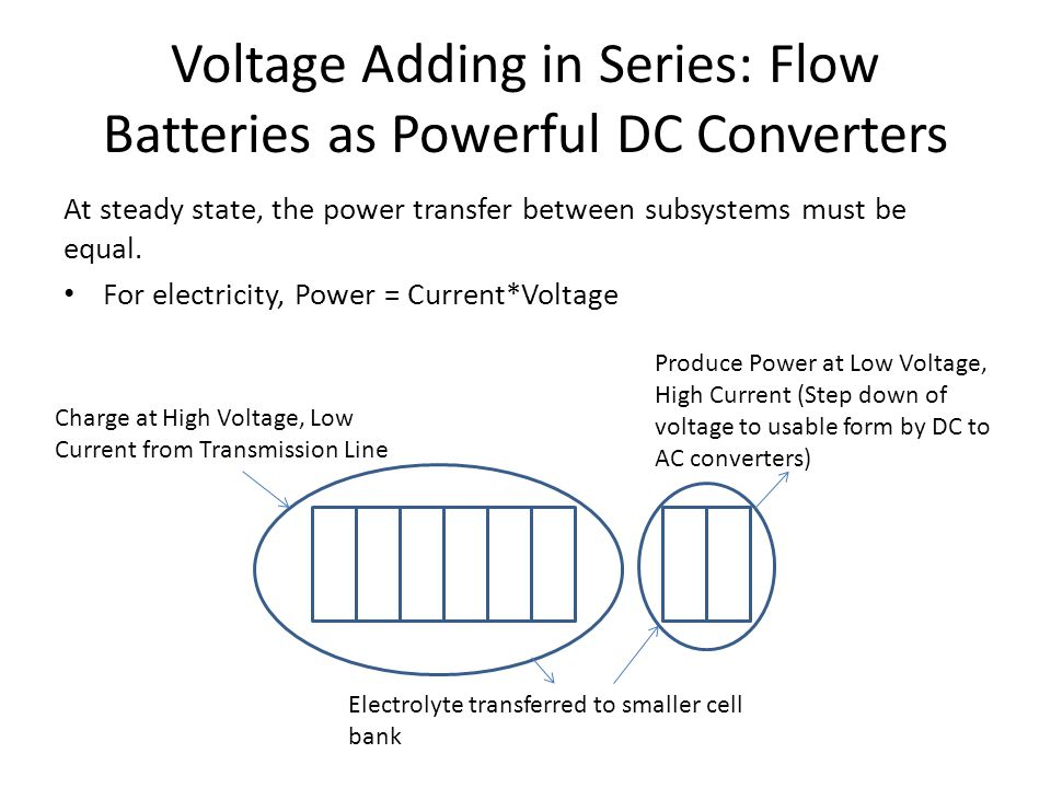 Voltage Adding in Series: Flow Batteries as Powerful DC Converters At steady state, the power transfer between subsystems must be equal. For electrici
