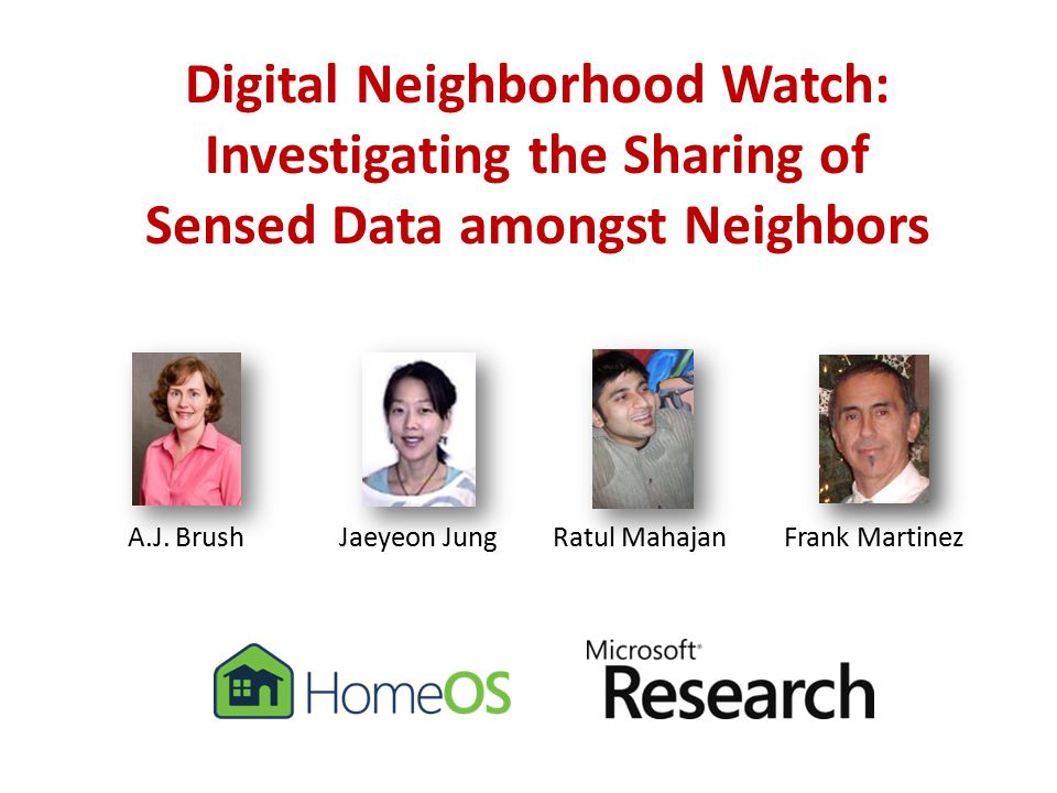 Digital Neighborhood Watch: Investigating the Sharing of Sensed Data amongst Neighbors A.J.