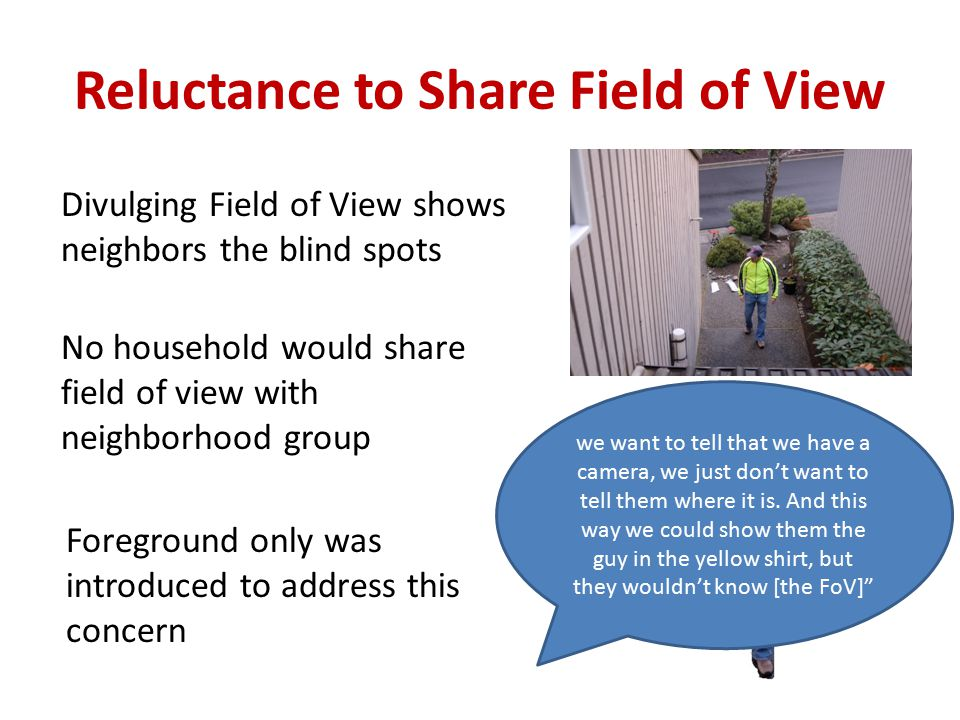 Reluctance to Share Field of View Divulging Field of View shows neighbors the blind spots No household would share field of view with neighborhood group we want to tell that we have a camera, we just don't want to tell them where it is.