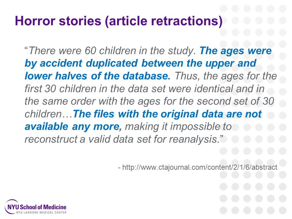 Horror stories (article retractions) There were 60 children in the study.