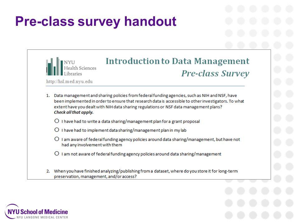 Pre-class survey handout