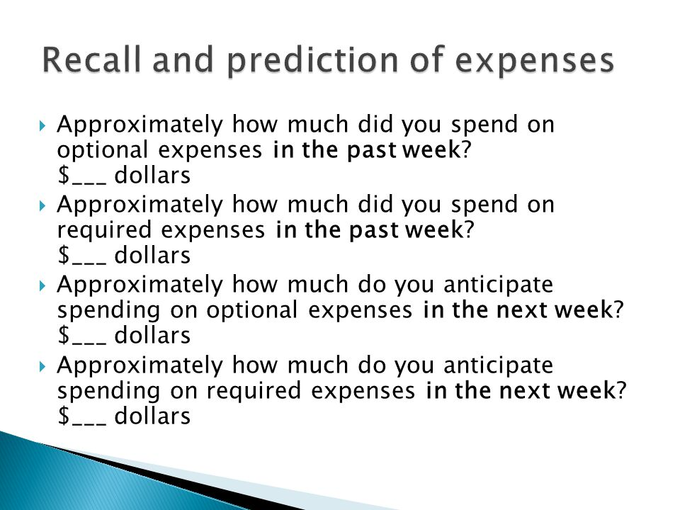  Approximately how much did you spend on optional expenses in the past week.