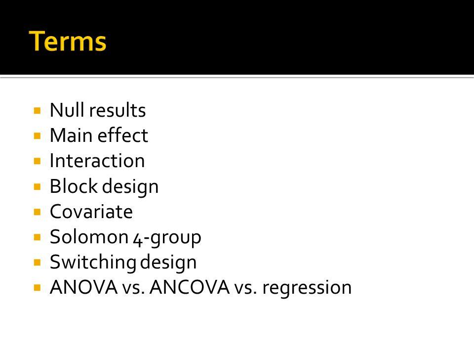  Null results  Main effect  Interaction  Block design  Covariate  Solomon 4-group  Switching design  ANOVA vs. ANCOVA vs. regression