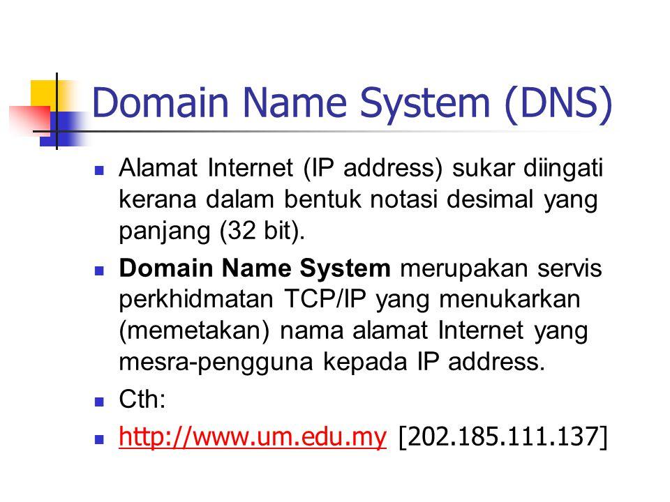 Domain Name System (DNS) Alamat Internet (IP address) sukar diingati kerana dalam bentuk notasi desimal yang panjang (32 bit).