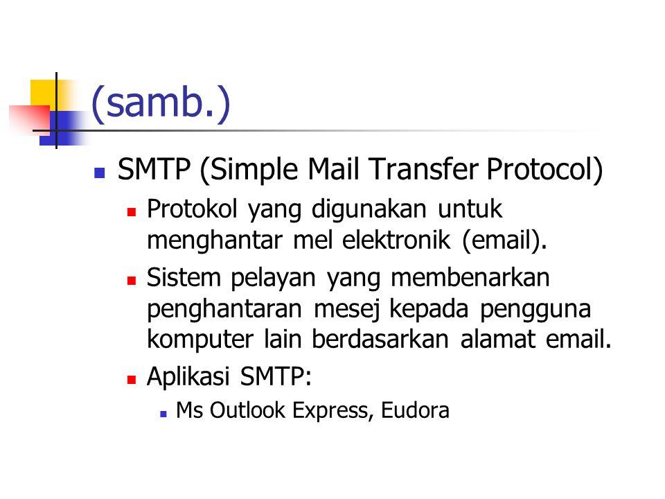 (samb.) SMTP (Simple Mail Transfer Protocol) Protokol yang digunakan untuk menghantar mel elektronik (email).