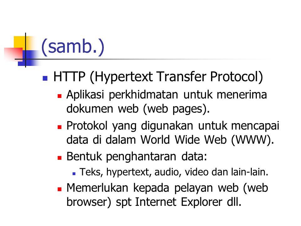 (samb.) HTTP (Hypertext Transfer Protocol) Aplikasi perkhidmatan untuk menerima dokumen web (web pages).