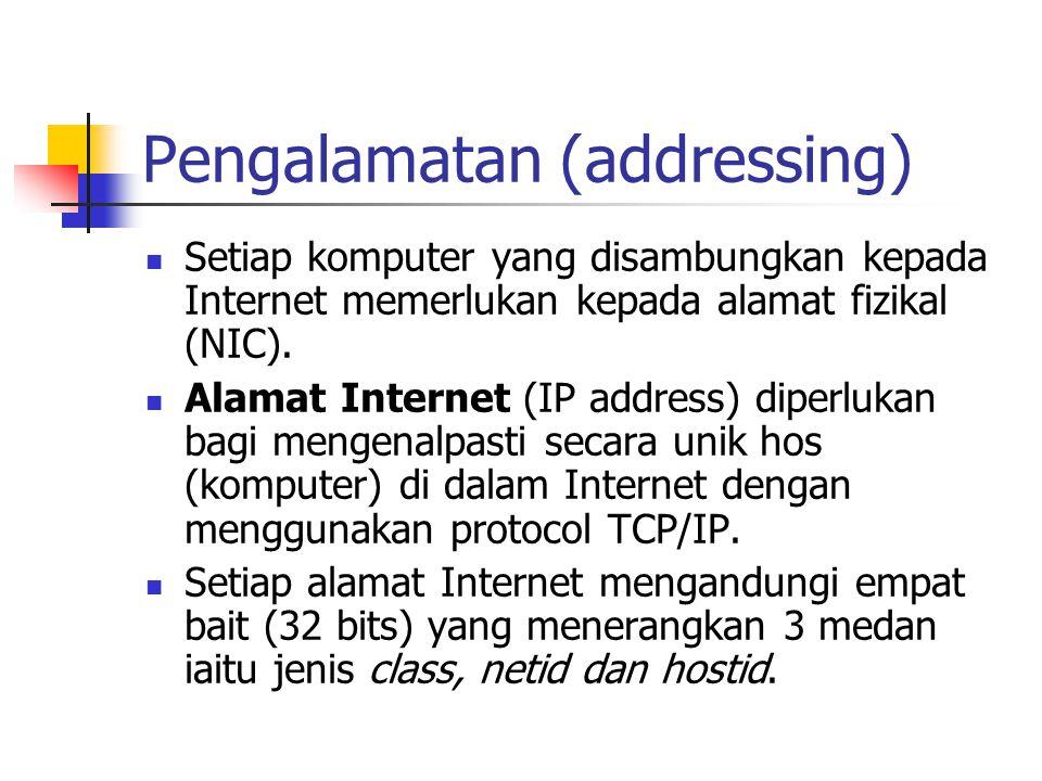 Pengalamatan (addressing) Setiap komputer yang disambungkan kepada Internet memerlukan kepada alamat fizikal (NIC).