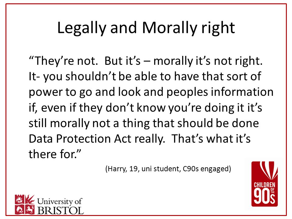 Legally and Morally right They're not. But it's – morally it's not right.