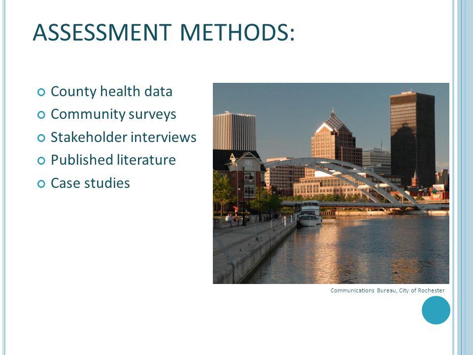 County health data Community surveys Stakeholder interviews Published literature Case studies ASSESSMENT METHODS: 31 Communications Bureau, City of Ro