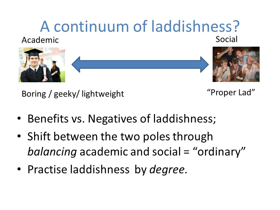 A continuum of laddishness. Benefits vs.