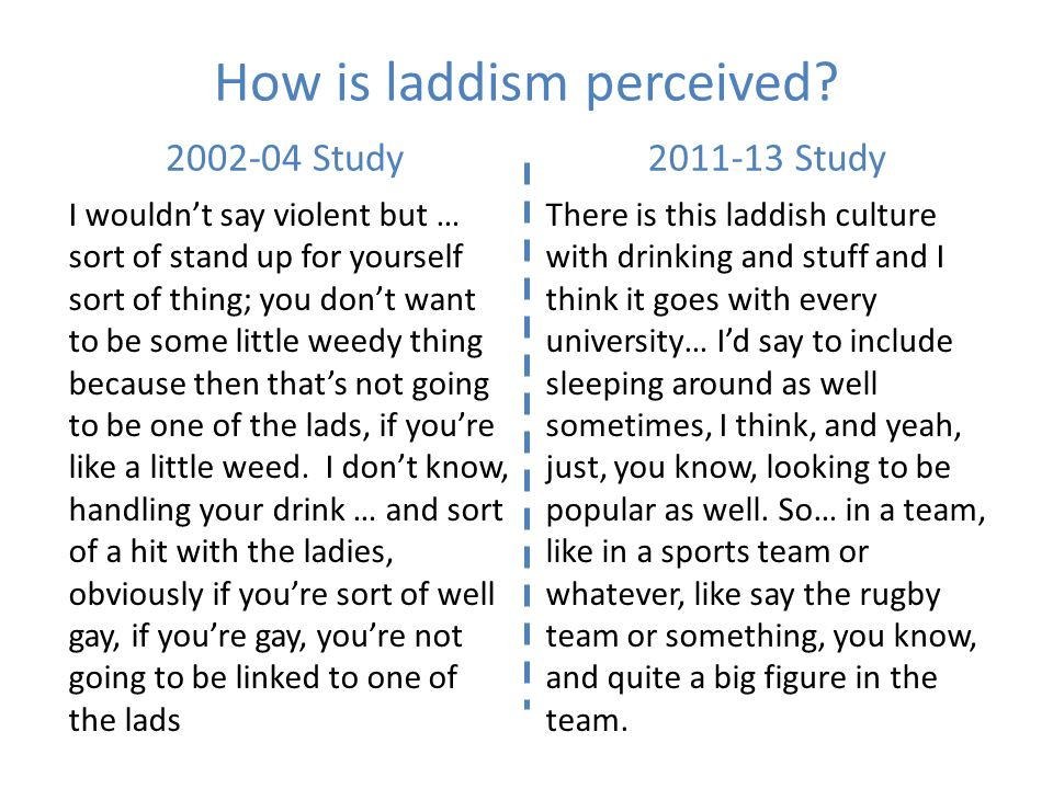 How is laddism perceived.