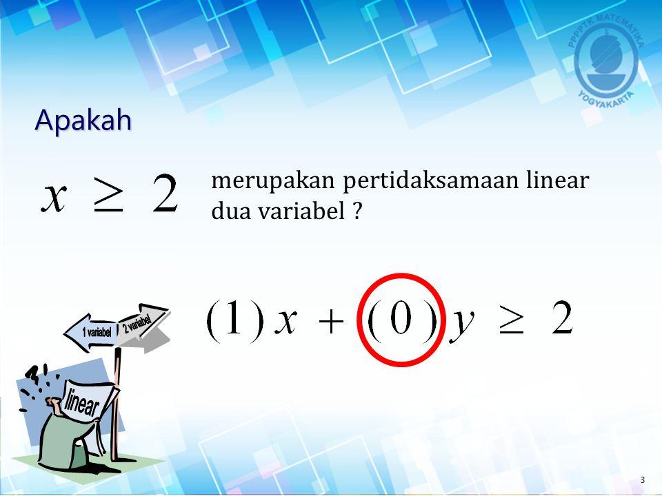 Pengertian Pertidaksamaan Linear Dua Variabel Pertidaksamaan linear dua variabel adalah suatu pertidaksamaan yang di dalamnya memuat dua variabel yang