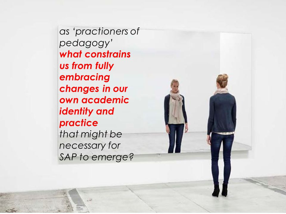 as 'practioners of pedagogy' what constrains us from fully embracing changes in our own academic identity and practice that might be necessary for SAP to emerge