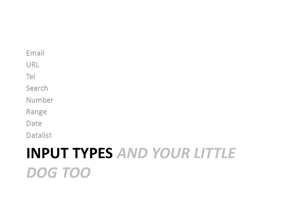 INPUT TYPES AND YOUR LITTLE DOG TOO Email URL Tel Search Number Range Date Datalist