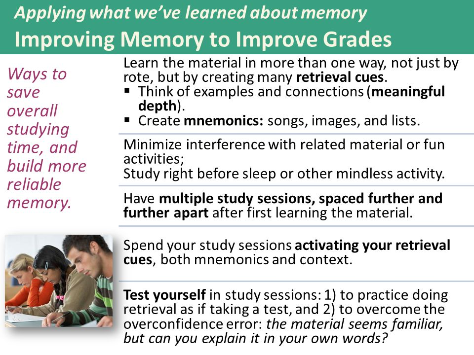 Applying what we've learned about memory Improving Memory to Improve Grades Ways to save overall studying time, and build more reliable memory. Learn