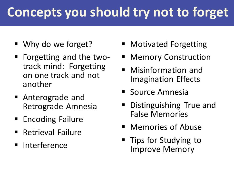 Concepts you should try not to forget  Why do we forget.