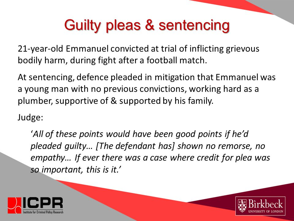 Guilty pleas & sentencing 21-year-old Emmanuel convicted at trial of inflicting grievous bodily harm, during fight after a football match. At sentenci