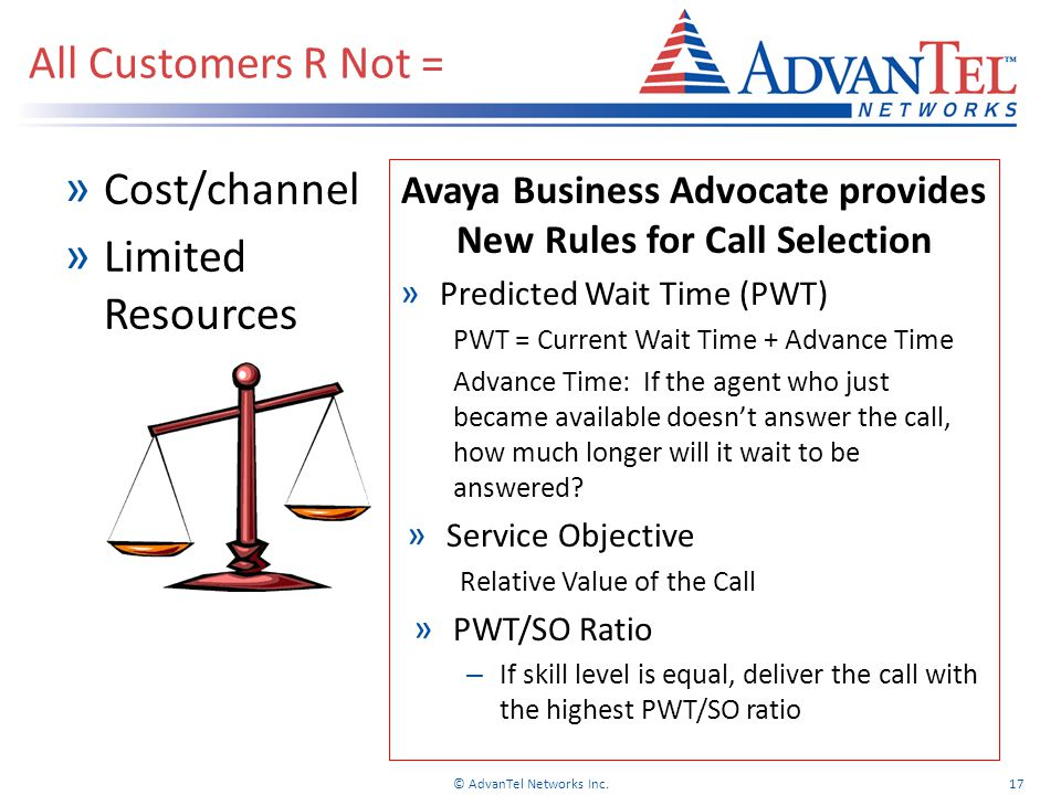 » Cost/channel » Limited Resources All Customers R Not = © AdvanTel Networks Inc.17 Avaya Business Advocate provides New Rules for Call Selection » Predicted Wait Time (PWT) PWT = Current Wait Time + Advance Time Advance Time: If the agent who just became available doesn't answer the call, how much longer will it wait to be answered.