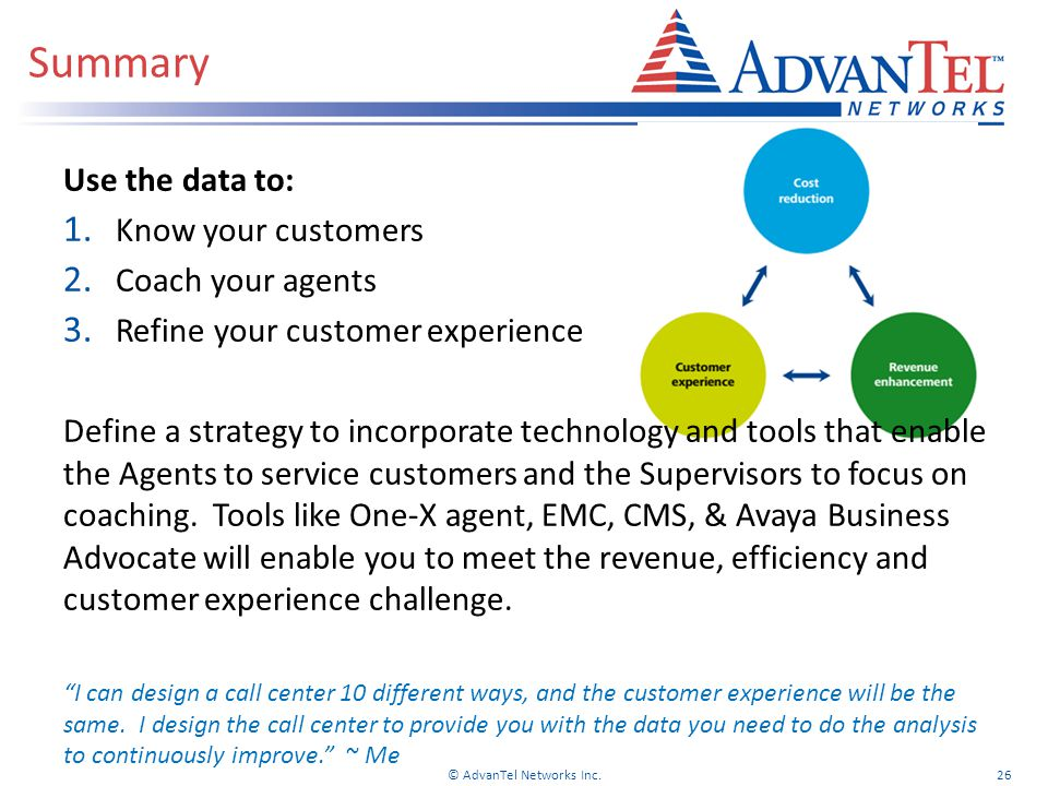 Use the data to: 1.Know your customers 2. Coach your agents 3.