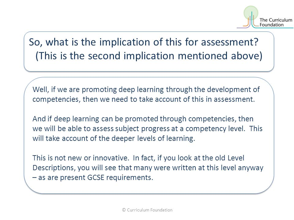 © Curriculum Foundation So, what is the implication of this for assessment.