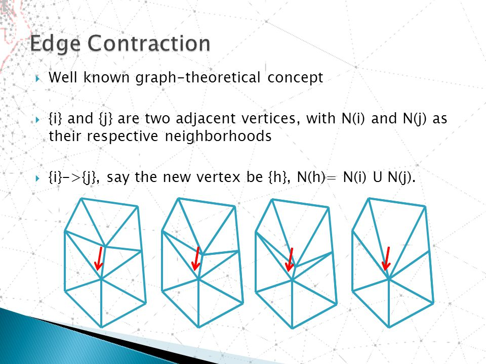  Well known graph-theoretical concept  {i} and {j} are two adjacent vertices, with N(i) and N(j) as their respective neighborhoods  {i}->{j}, say the new vertex be {h}, N(h)= N(i) U N(j).