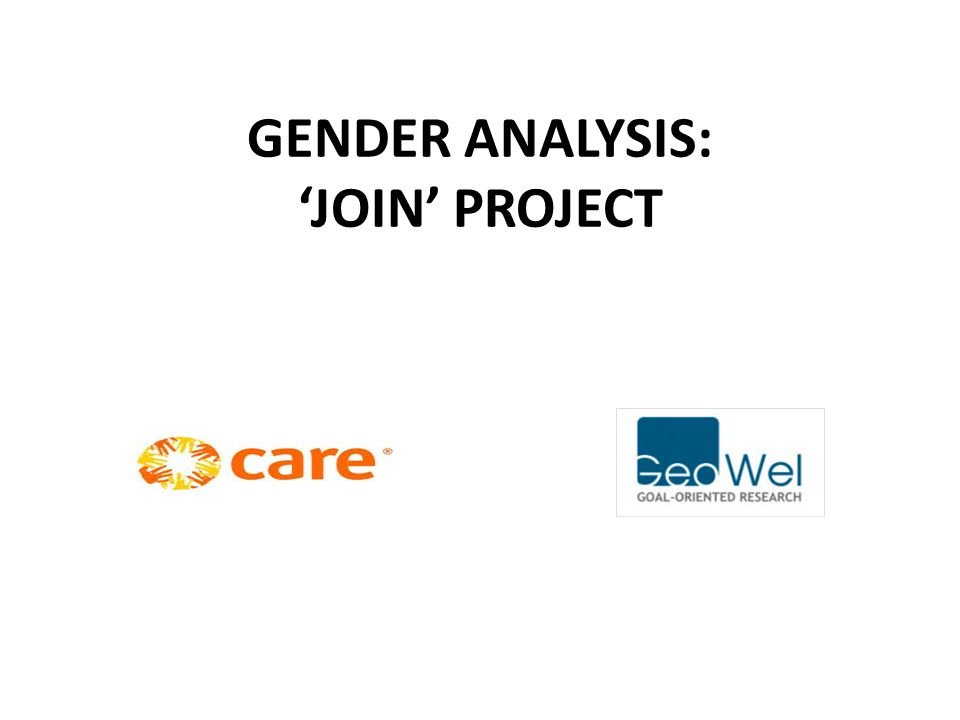 GENDER ANALYSIS: 'JOIN' PROJECT