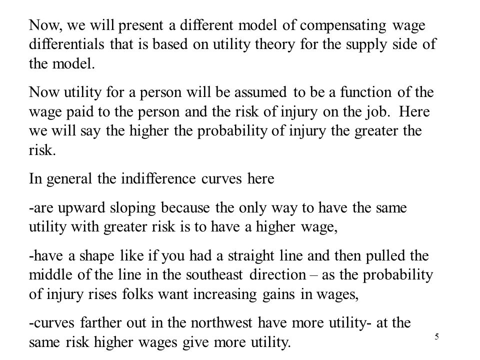 5 Now, we will present a different model of compensating wage differentials that is based on utility theory for the supply side of the model.