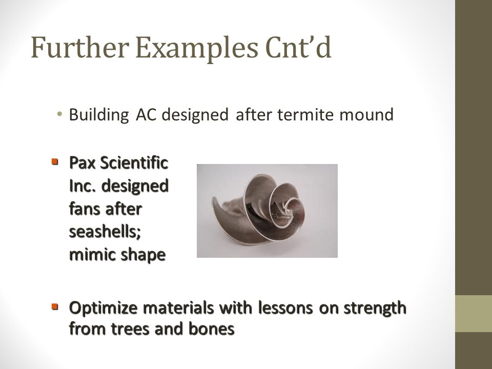 Further Examples Cnt'd Building AC designed after termite mound  Pax Scientific Inc.