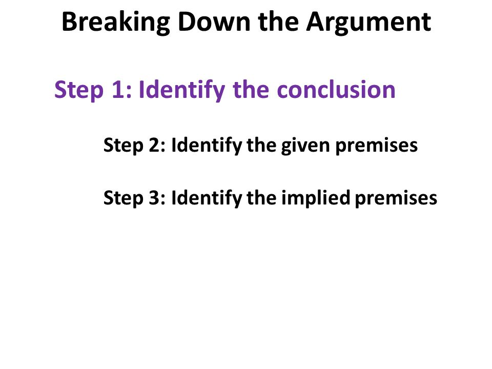 Step 1: Identify the conclusion Step 2: Identify the given premises Step 3: Identify the implied premises Breaking Down the Argument