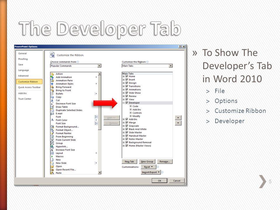 » Click the View Tab » Click Macros » Macros in: Select Word Commands » Macro name: Select ListCommands Macro » Click Run » Dialog box: All Word Commands » Click OK 6