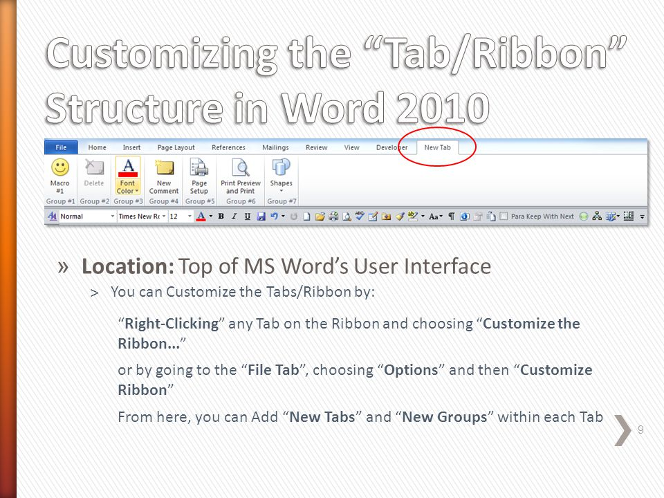 » Location: C:\Users\User\AppData\Local\Microsoft\OFFICE\Word.officeUI 10 ˃Method #1 Note: The File and Location are Hidden by Default You can Copy this file onto a different Computer System...allowing other Users to have access to your Customized QAT ˃Method #2 Export your Customized QAT File to a location of your choosing and giving it a file name like Word Customizations.exportedUI ...this is the Default Name...Then Share this file with Others, so that they can Import this file and have access to your Customized QAT and New Ribbon Structure