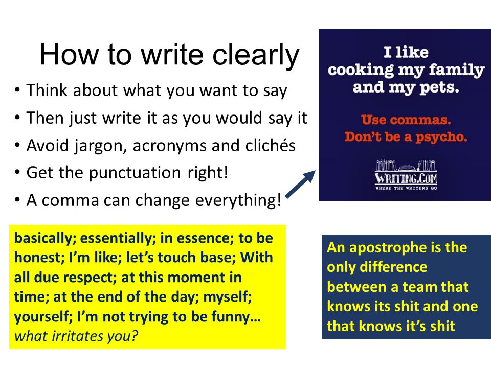 How to write clearly Think about what you want to say Then just write it as you would say it Avoid jargon, acronyms and clichés Get the punctuation ri
