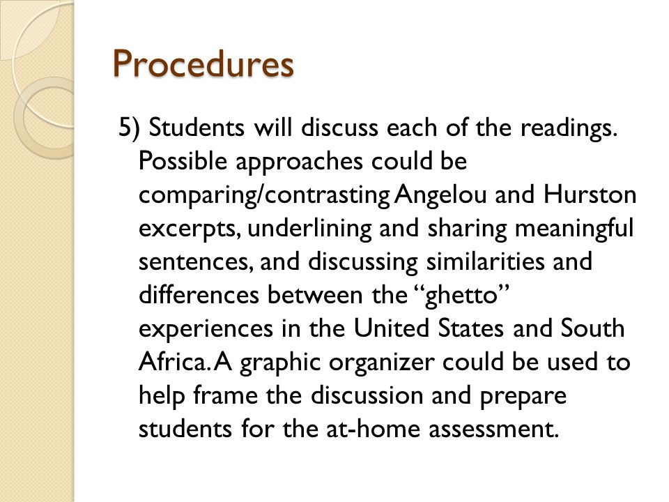 Procedures 5) Students will discuss each of the readings.