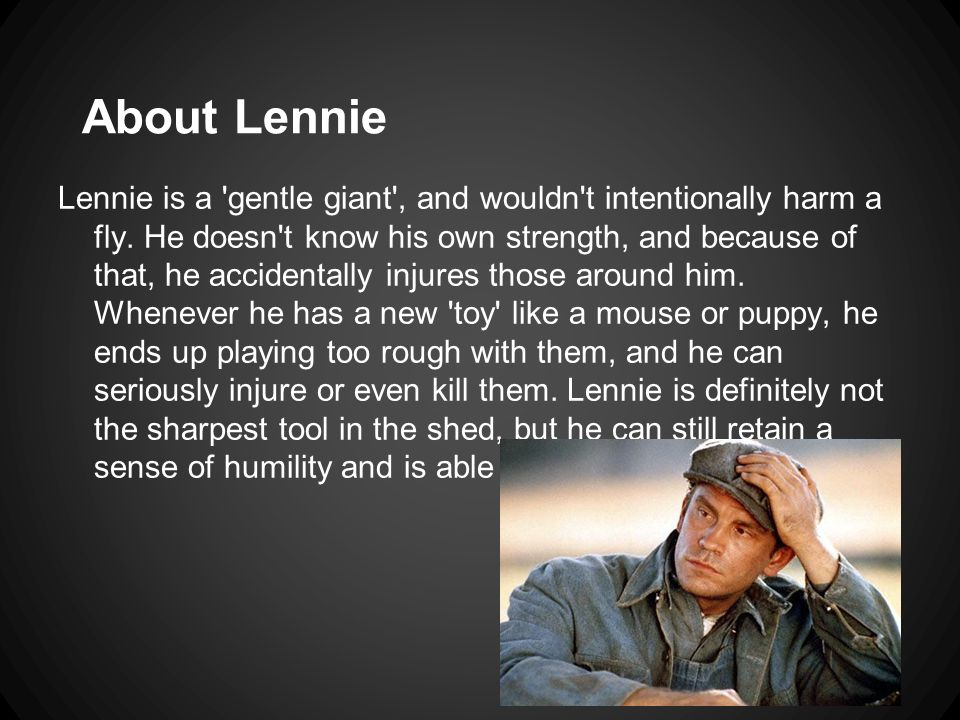 About Lennie Lennie is a gentle giant , and wouldn t intentionally harm a fly.