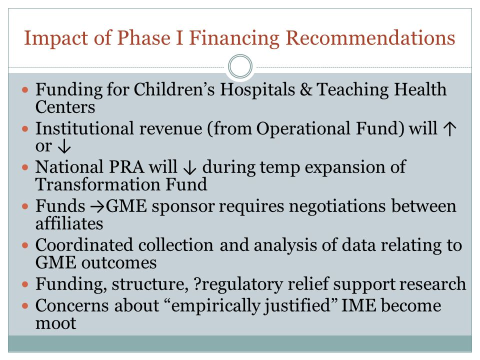 Impact of Phase I Financing Recommendations Funding for Children's Hospitals & Teaching Health Centers Institutional revenue (from Operational Fund) w