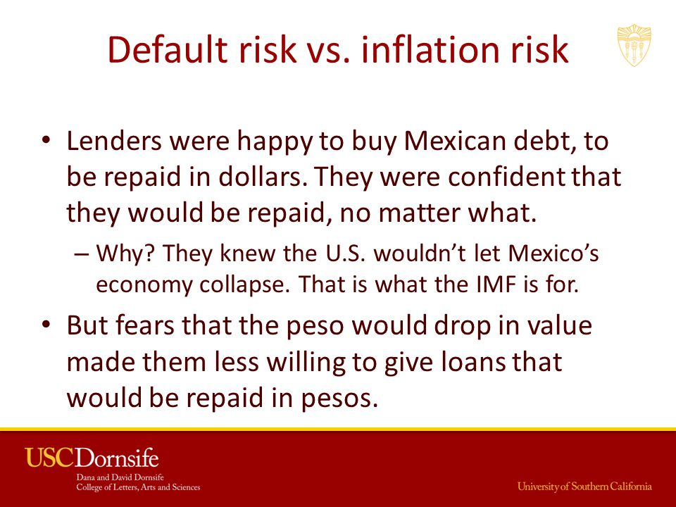 Default risk vs.inflation risk Lenders were happy to buy Mexican debt, to be repaid in dollars.